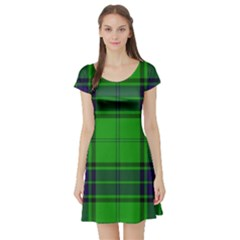 Green And Blue Plaid Short Sleeve Skater Dress