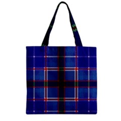 Blue Heather Plaid Zipper Grocery Tote Bag