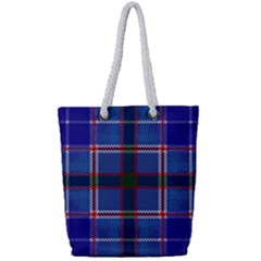 Blue Heather Plaid Full Print Rope Handle Bag (small)