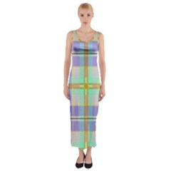 Blue And Yellow Plaid Fitted Maxi Dress