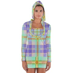Blue And Yellow Plaid Long Sleeve Hooded T Shirt
