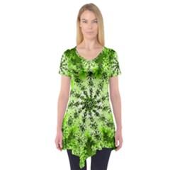 Lime Green Starburst Fractal Short Sleeve Tunic