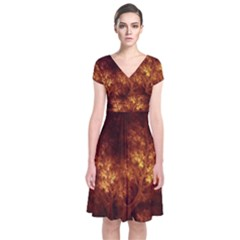 Artsy Brown Trees Short Sleeve Front Wrap Dress