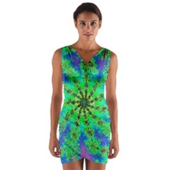 Green Psychedelic Starburst Fractal Wrap Front Bodycon Dress