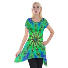 Green Psychedelic Starburst Fractal Short Sleeve Side Drop Tunic