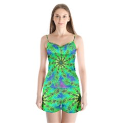 Green Psychedelic Starburst Fractal Satin Pajamas Set