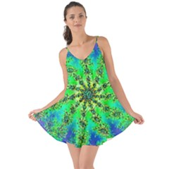 Green Psychedelic Starburst Fractal Love The Sun Cover Up