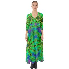 Green Psychedelic Starburst Fractal Button Up Boho Maxi Dress