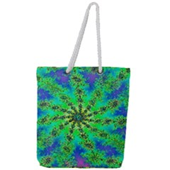 Green Psychedelic Starburst Fractal Full Print Rope Handle Tote (large)