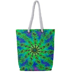 Green Psychedelic Starburst Fractal Full Print Rope Handle Bag (small)