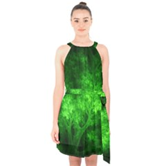Artsy Bright Green Trees Halter Collar Waist Tie Chiffon Dress