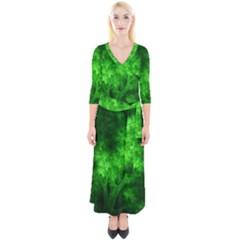 Artsy Bright Green Trees Quarter Sleeve Wrap Maxi Dress
