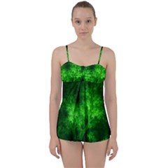 Artsy Bright Green Trees Babydoll Tankini Set