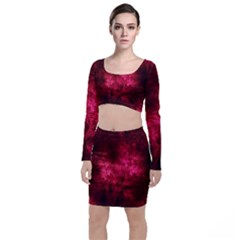 Artsy Red Trees Long Sleeve Crop Top & Bodycon Skirt Set