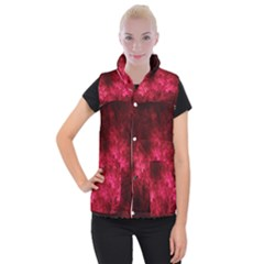Artsy Red Trees Women s Button Up Puffer Vest