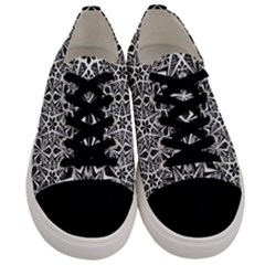 Star With Twelve Rays Pattern Black White Men s Low Top Canvas Sneakers