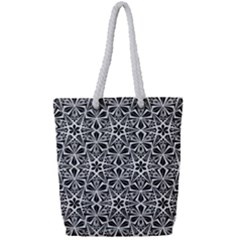 Star With Twelve Rays Pattern Black White Full Print Rope Handle Bag (small)