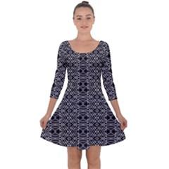 Black And White Ethnic Pattern Quarter Sleeve Skater Dress
