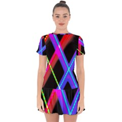 Xmas Light Paintings Drop Hem Mini Chiffon Dress