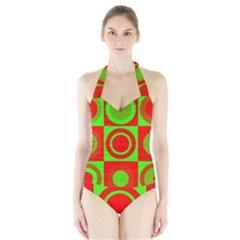 Redg Reen Christmas Background Halter Swimsuit