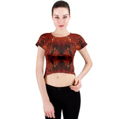 Red Abstract Crew Neck Crop Top