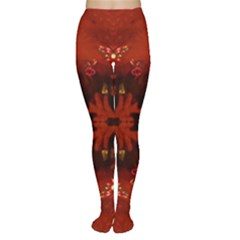Red Abstract Women s Tights