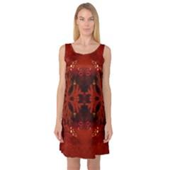 Red Abstract Sleeveless Satin Nightdress