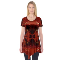Red Abstract Short Sleeve Tunic