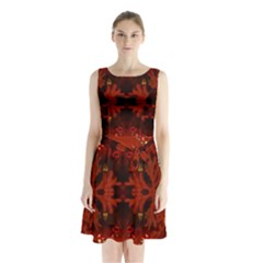 Red Abstract Sleeveless Waist Tie Chiffon Dress
