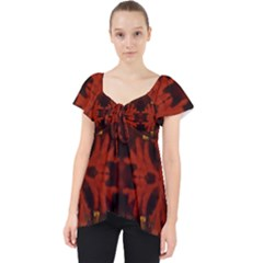 Red Abstract Lace Front Dolly Top
