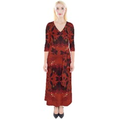 Red Abstract Quarter Sleeve Wrap Maxi Dress