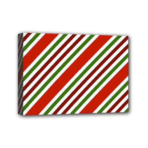 Christmas Color Stripes Mini Canvas 7  X 5