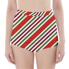 Christmas Color Stripes High Waisted Bikini Bottoms