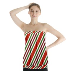 Christmas Color Stripes Strapless Top