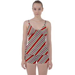 Christmas Color Stripes Tie Front Two Piece Tankini