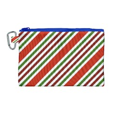 Christmas Color Stripes Canvas Cosmetic Bag (large)