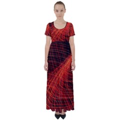 A Christmas Light Painting High Waist Short Sleeve Maxi Dress