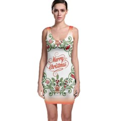 Merry Christmas Wreath Bodycon Dress