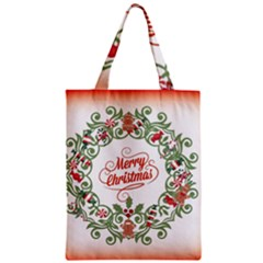 Merry Christmas Wreath Zipper Classic Tote Bag