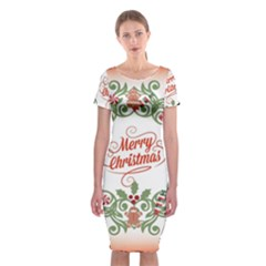 Merry Christmas Wreath Classic Short Sleeve Midi Dress