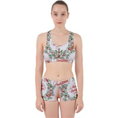 Merry Christmas Wreath Work It Out Sports Bra Set