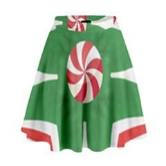Candy Cane Kaleidoscope High Waist Skirt