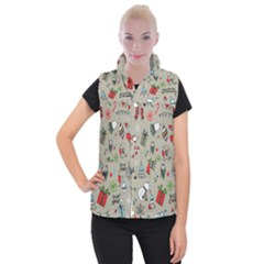 Beautiful Design Christmas Seamless Pattern Women s Button Up Puffer Vest