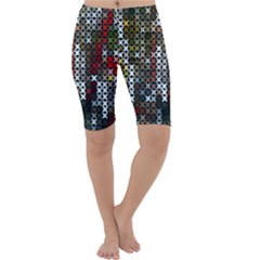 Christmas Cross Stitch Background Cropped Leggings