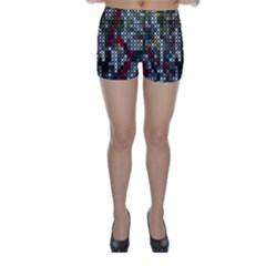 Christmas Cross Stitch Background Skinny Shorts