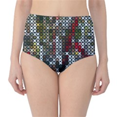Christmas Cross Stitch Background High Waist Bikini Bottoms