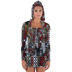 Christmas Cross Stitch Background Long Sleeve Hooded T Shirt