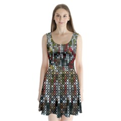 Christmas Cross Stitch Background Split Back Mini Dress