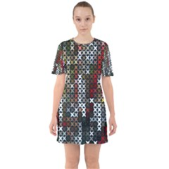 Christmas Cross Stitch Background Sixties Short Sleeve Mini Dress