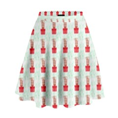 At On Christmas Present Background High Waist Skirt